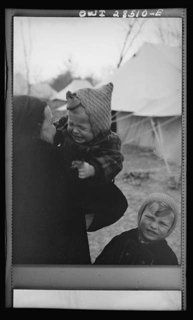 Teheran, Iran. Baby girl at a Polish evacuee camp with her mother