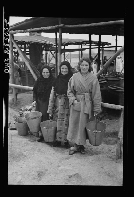 Teheran, Iran. Polish refugees at an American Red Cross camp using woolen bathrobes donated by the Red Cross as overcoats