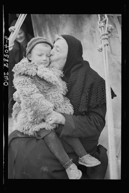 Teheran, Iran. Polish woman and her grandchildren shown in an American Red Cross evacuation camp as they await evacuation to new homes