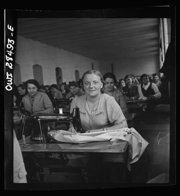 Teheran, Iran. Women making their own clothing at a Polish evacuee camp operated by the Red Cross