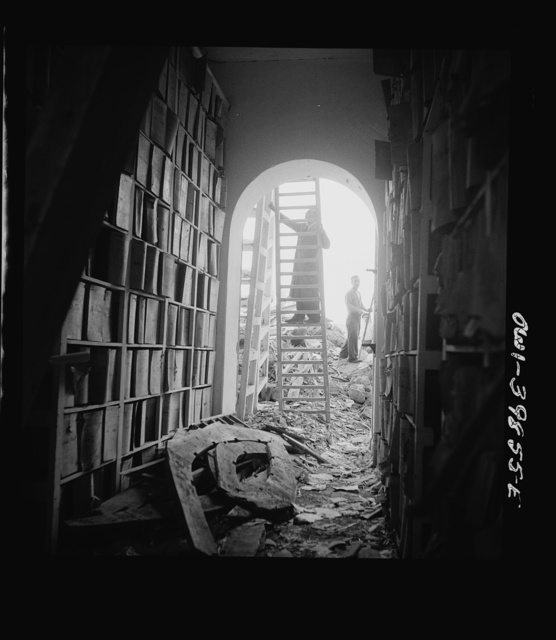 The 2,000-year-old Sicilian state library, parts of which was badly bombed. (Sicily)