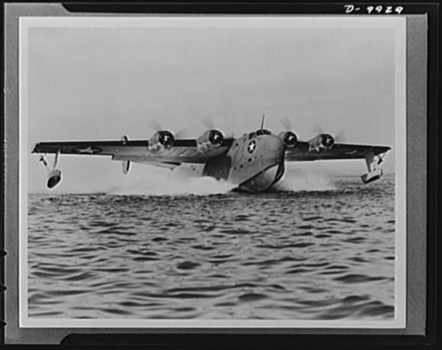 The Coronade (PB2Y), a four-engine flying boat built for the U.S. Navy, is also used by the British Coastal Command. Also a product of Consolidated Vultee, it is the largest and most powerful plane in the Navy service