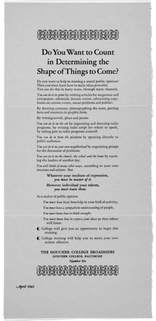 [The Goucher College broadsides. Nos. 1-7] [Baltimore, 1943].