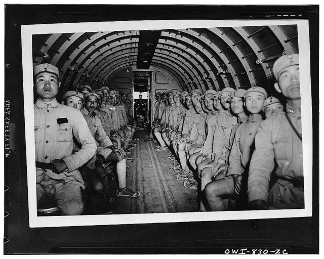 The interior of the DC-3 with its complement of Chinese soldiers enroute to India on their task missions being transported by United States Army Air force flyers