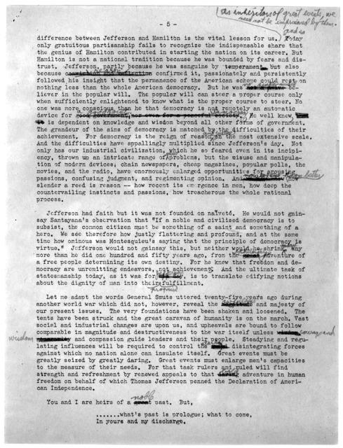 """The Permanence of Jefferson,"" by Felix Frankfurter, April 13, 1943"