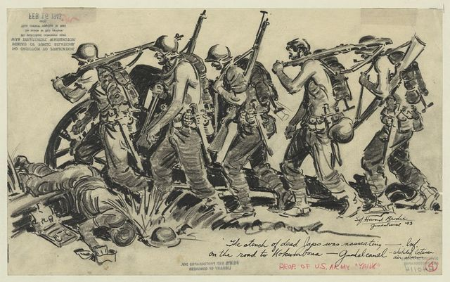The stench of dead Japs was nauseating - Inf. on the road to Kokumbona - Guadalcanal - sketched between air alarms