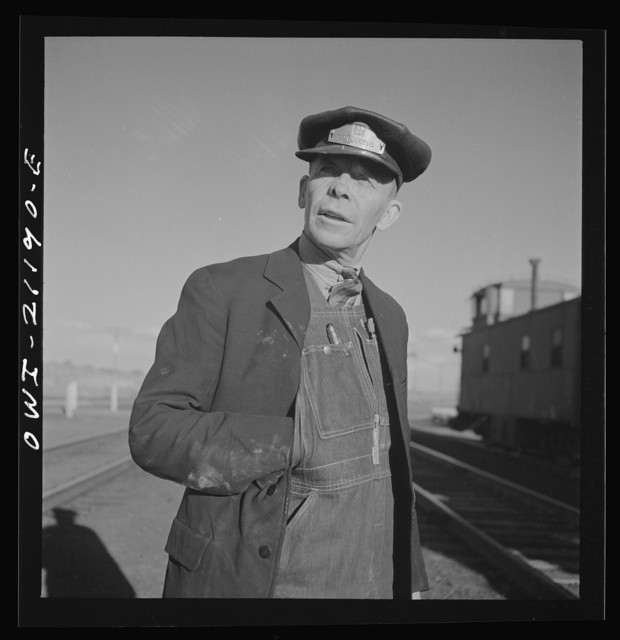 Thoreau, New Mexico. Conductor C.W. Tevis, with the Atchison, Topeka and Santa Fe Railroad for thirty-two years