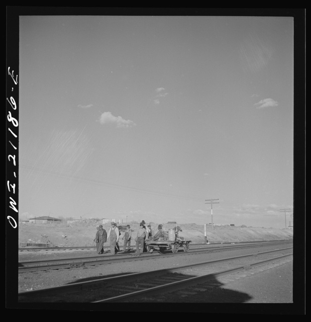 Thoreau, New Mexico. Section crew coming in after a day's work on the Atchison, Topeka and Santa Fe Railroad between Belen and Gallup, New Mexico