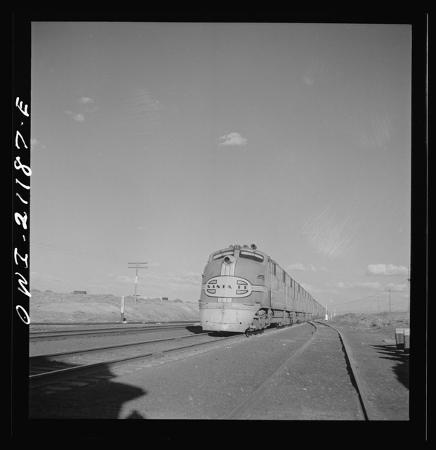 "Thoreau, New Mexico. The diesel streamliner ""Super Chief"" going west along the Atchison, Topeka and Santa Fe Railroad between Belen and Gallup, New Mexico"
