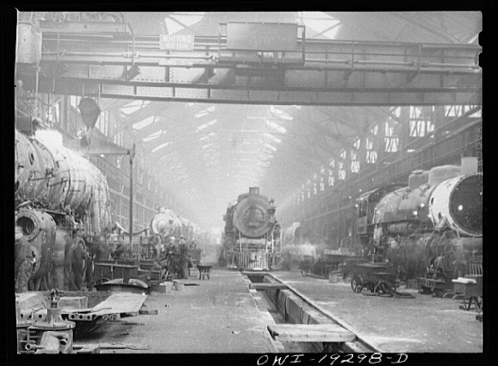 Topeka, Kansas. General view of part of the Atchison, Topeka and Santa Fe Railroad shops
