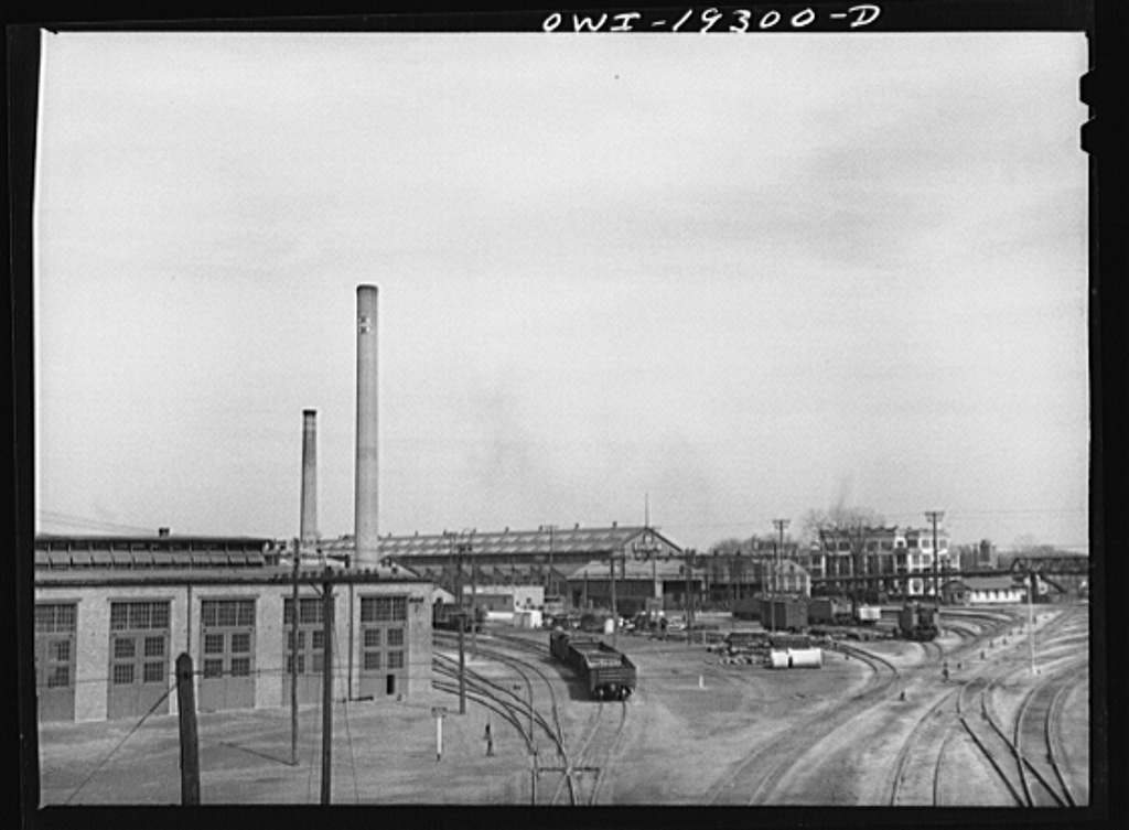 Topeka, Kansas. General view of part of the Atchison, Topeka and Santa Fe Railroad shops