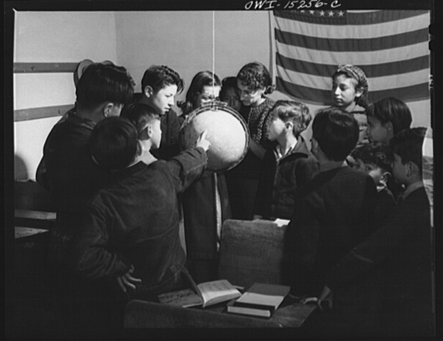 Trampas, New Mexico. A class in day school finding Trampas on the globe