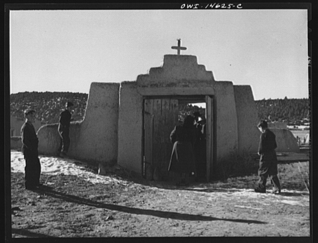Trampas, New Mexico. Congregation leaving after mass from a church which was built in 1700 and is the best-preserved colonial mission in the Southwest