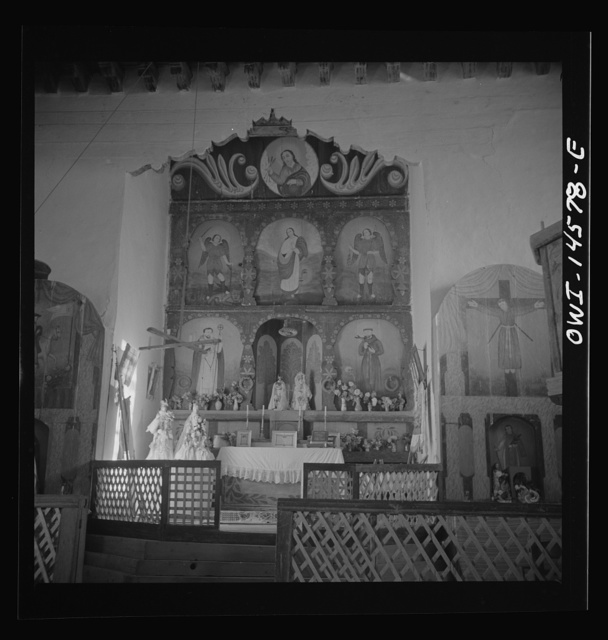 Trampas, New Mexico. Main altar in a church which was built in 1700 and is the best-preserved colonial mission in the Southwest
