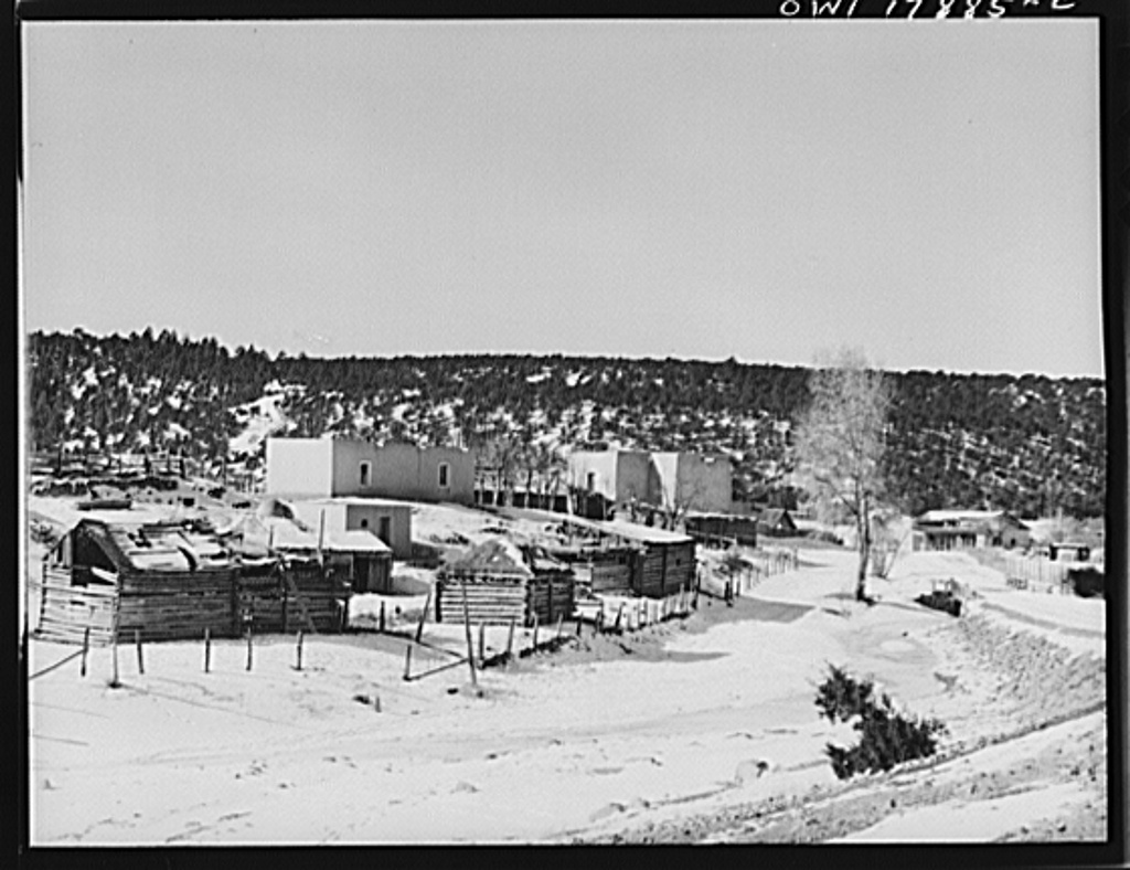 Trampas, New Mexico. The home of Juan Lopez, the majordomo (mayor), consists of four rooms, a small orchard, a storehouse and corrals where the wagon is stored and the cows and horses given shelter from the winter blizzards