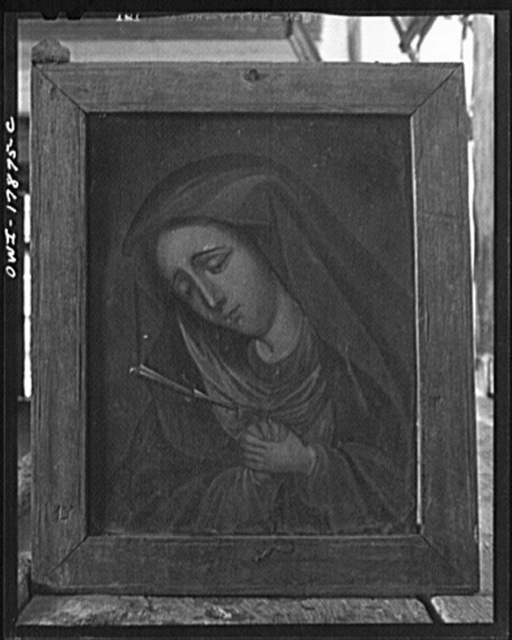Trampas, New Mexico. Undated painting used as a decoration on the main altar in a church which was built in 1700 and is the best-preserved colonial mission in the Southwest. It is painted in oil on a tin panel and measures 8 x 12 inches