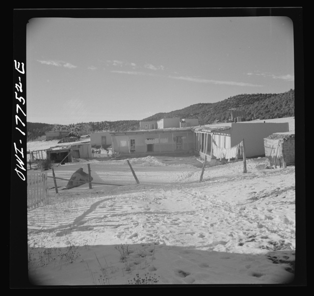 Trampas, Taos County, New Mexico. A Spanish-American village in the foothills of the Sangre de Cristo mountains dating back to 1700 which was once a sheep raising center. Due to overgrazing and loss of the range title, its inhabitants now work as migratory labor and at subsistence farming