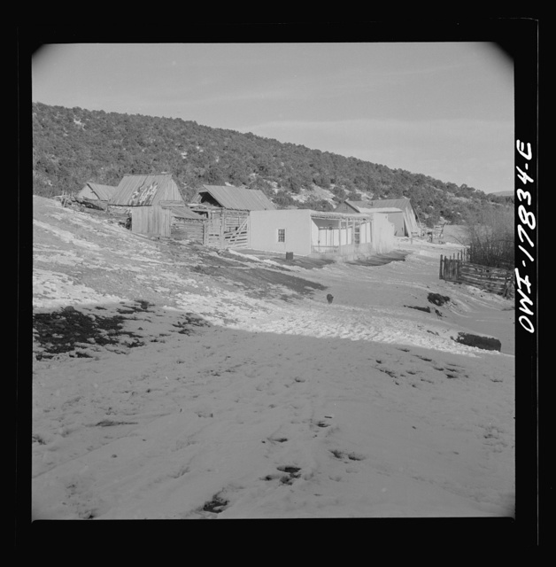Trampas, Taos County, New Mexico. A Spanish-American village in the foothills of the Sangre de Cristo Mountains dating back to 1700 which was once a sheep raising center. Due to the overgrazing and loss of range title, its inhabitants now work as migratory labor and at subsistence farming