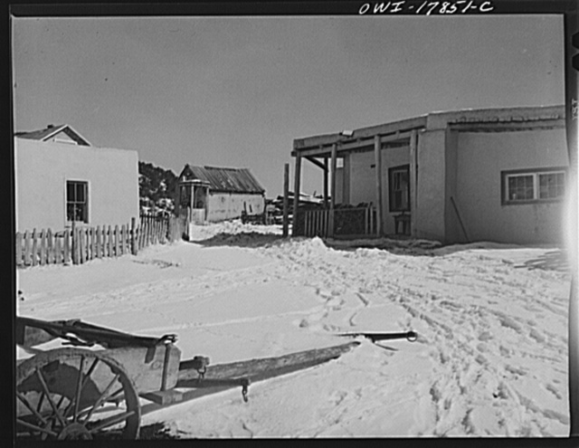 Trampas, Taos County, New Mexico. A Spanish-American village in the foothills of the Sangre de Cristo Mountains dating back to 1700 which was once a sheep raising center. Due to overgrazing and loss of range title, its inhabitants now work as migratory labor and at subsistence farming
