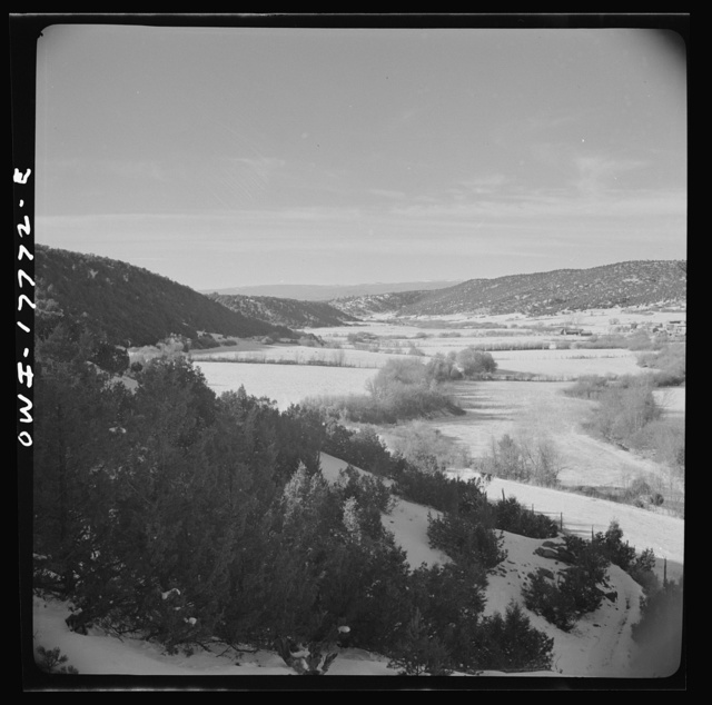 Trampas, Taos County, New Mexico. A Spanish-American village in the foothills of the Sangre de Cristo Mountains. Farmlands