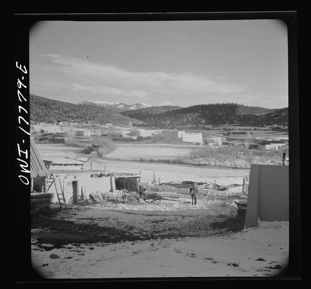 Trampas, Taos County, New Mexico. A Spanish-American village in the foothills of the Sangre de Cristo Mountains dating back to 1700 which was once a sheep raising center. Due to the overgrazing and loss of range title, its inhabitants now work as migratory labor and at subsistence farming. Trampas church in center