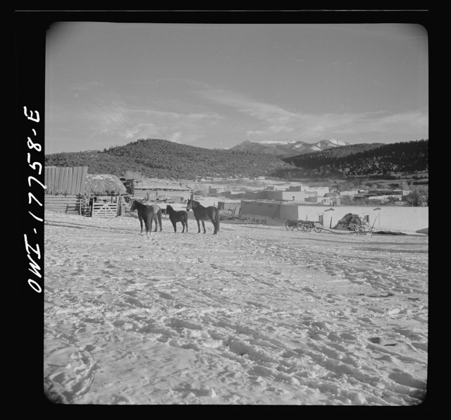 Trampas, Taos County, New Mexico. A Spanish-American village in the foothills of the Sangre de Cristo Mountains dating back to 1700 which was once a sheep raising center. Due to overgrazing and loss of range title, its inhabitants now work as migratory labor and subsistence farming