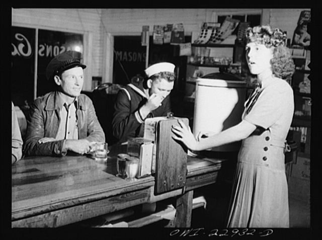 Truck driver and sailor at a highway coffee shop on U.S. Highway 90 in southern Louisiana