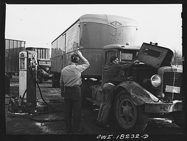 Truckers' service stop in New Jersey, just outside New York City. This is where Associated Transport Company trucks going south from New York stop for gas and oil