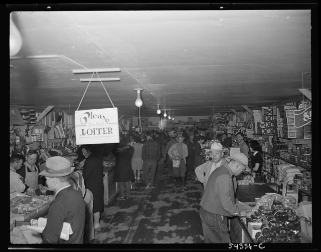 [Tule Lake segregation center, Newell, California, people getting groceries in cooperative store]