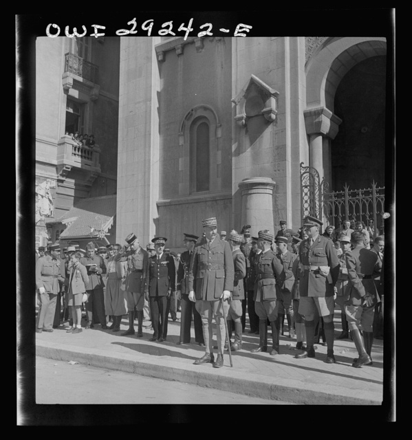 Tunis, Tunisia. General Giraud reviewing the victorious Franch troops as they enter Tunis