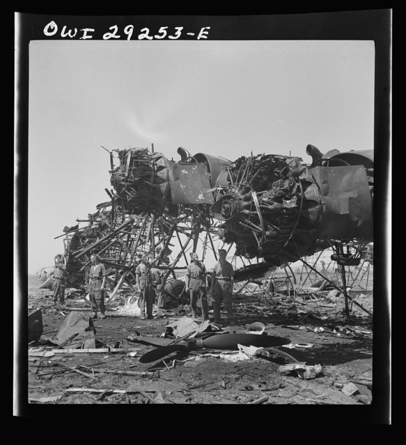 Tunis, Tunisia. Wreckage of giant, six-motored German transport plane at the airport