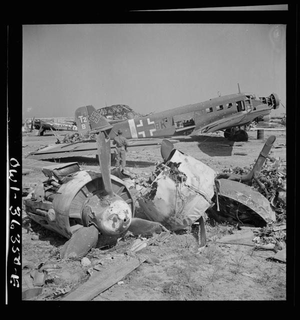 Tunis, Tunisia. Wrecked German planes at El Aouiana airport