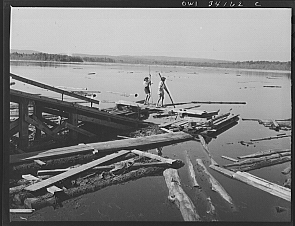 Turkey Pond, near Concord, New Hampshire. Women workers employed by a U.S. Department of Agriculture timber salvage sawmill. Mrs. Elizabeth Esty and Florence Drouin, pond woman, use regular logging piles to bring the logs into place on the slip. The timber sawed at this mill is wood felled by the hurricane which hit New England, in September 1938