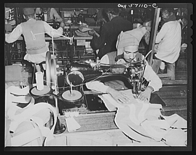 "United States ""Lend-lease"" program in eastern India. American-made sewing machines, supplied under lend-lease, enable Indian workmen to turn out parachutes for their own army"