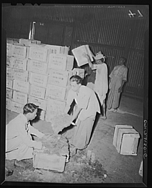 "United States ""lend-lease"" program in eastern India. Valuable mica is packed for shipment to the United States from India. Mica is essential in the manufacture of aircraft, some 16 pounds being used in each bomber. It is furnished to the United States on a reverse lend-lease basis and enjoys top priority of transport"
