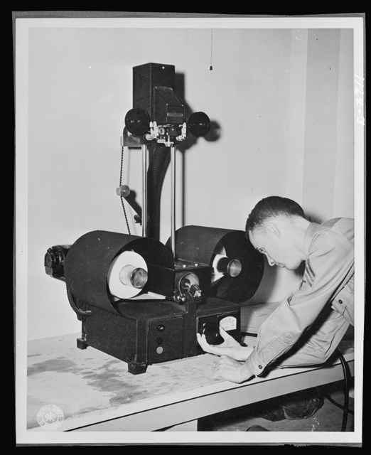 V-mail. Enlarged reproduction from V-mail microfilm are made on a continuous enlarger at the Pentagon building, Washington, D.C.  V-mail is available to and from the armed forces stationed outside the United States. It is only 1/65th the weight of ordinary mail and saves ninety-eight percent of the cargo space required for ordinary letters. 1,600 letters can be placed on a roll of film little larger than a pack of cigarettes