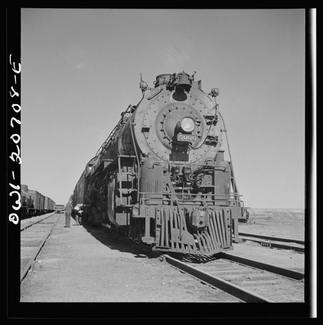 Vaughn, New Mexico. The Atchison, Topeka and Santa Fe Railroad meets the Southern Pacific Railroad as the streamliner passes near the town