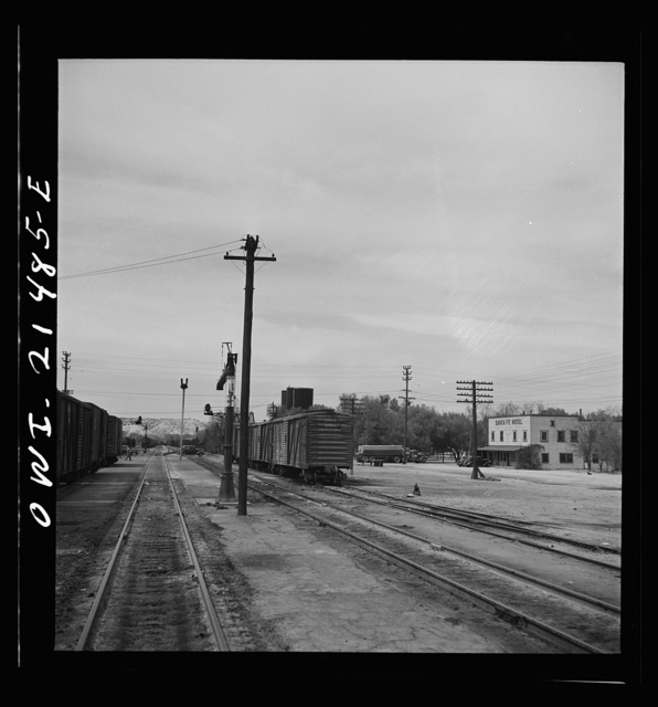 Victorville, California. Going through the town on the Atchison, Topeka and Santa Fe Railroad between Barstow and San Bernardino, California