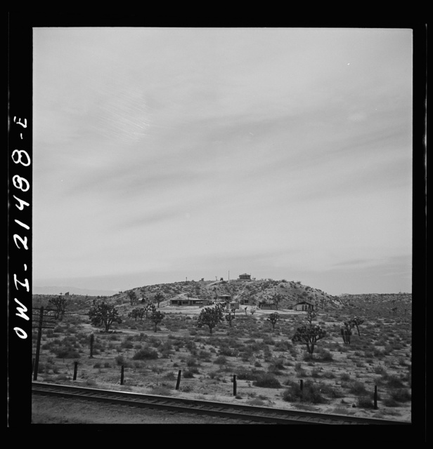 Victorville (vicinity), California. Climbing the mountains on the Atchison, Topeka and Santa Fe Railroad between Barstow and San Bernardino, California. Note the Joshua trees