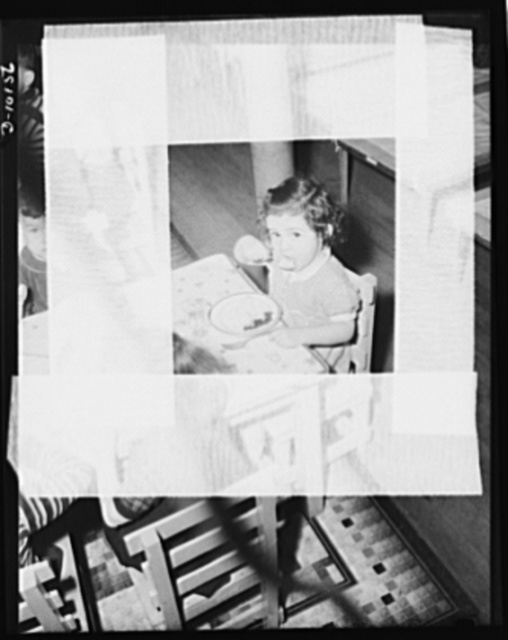 War nursery schools. Woonsocket, Rhode Island.This young lady's mother works in a war plant. The youngster passes twelve hours a day Monday through Saturday in one of the thirty-five war nurseries conducted for war workers' children