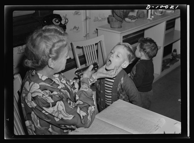 War workers' nursery. Jimmy Solavich whose mother works in a local war plant, must pass health inspection every morning at his Oakland, California nursery school. To protect all children from contagion, Mrs. Elsie Curran, school supervisor, inspects each child upon arrival
