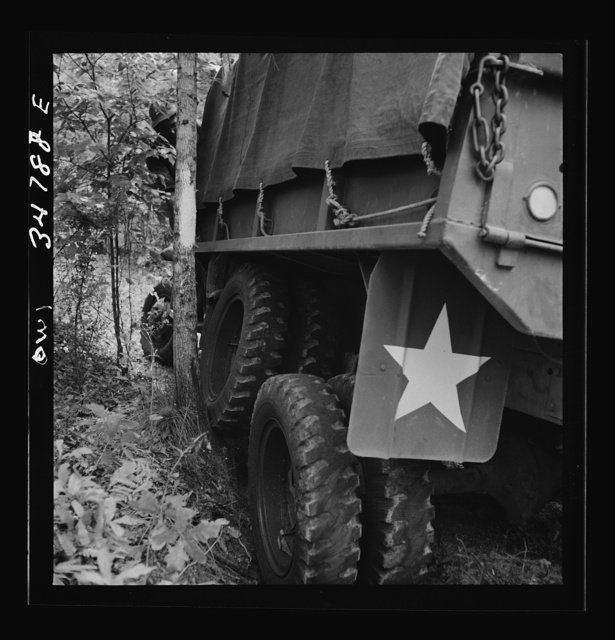 Warner Robins, Georgia. Air Service Command, Robins Field. Part of the training of the truck drivers of the depot group consists of driving many times through an obstacle course in the woods