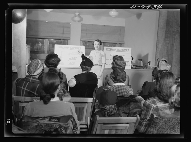 Wartime food demonstration. A new and important home front activity, the wartime food demonstration is rapidly becoming a nation-wide institution. Wives of war workers in Alexandria, Virginia meet weekly to hear about best ways of ration-point spending, food conservation, etc., under the leadership of Ida Lansden, home economist