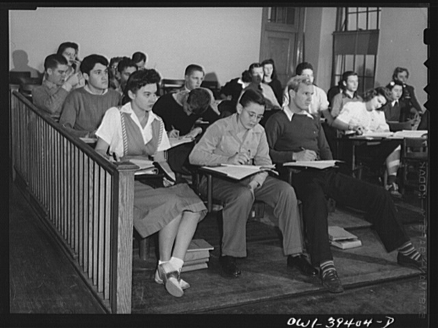 Washington, D.C. A chemistry class listening to a lecture at the Woodrow Wilson High School