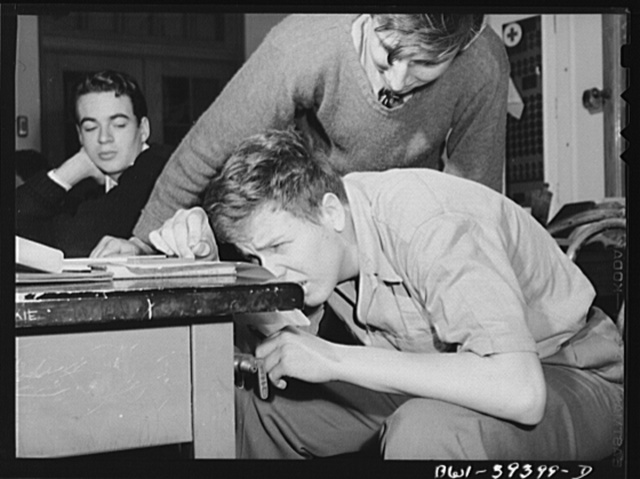 Washington, D.C. A laboratory session in a physics class at Woodrow Wilson High School