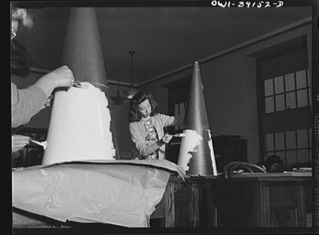 Washington, D.C. Art students painting megaphones for the use of Woodrow Wilson High School cheerleaders