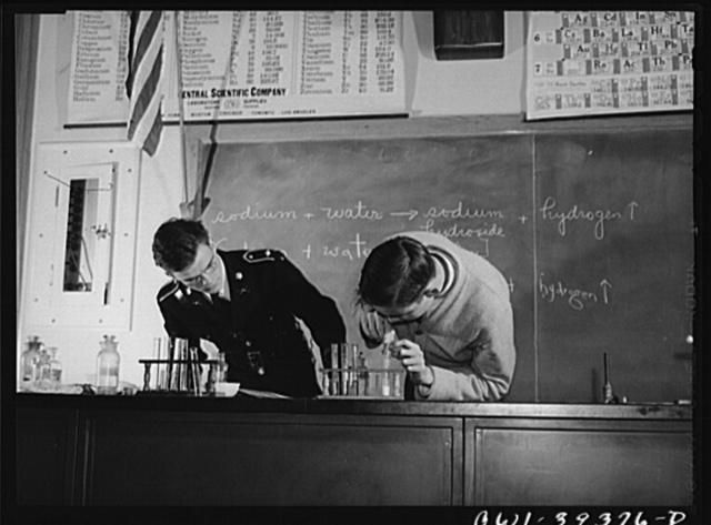 Washington, D.C. Chemistry students performing a class demonstration at Woodrow Wilson High School