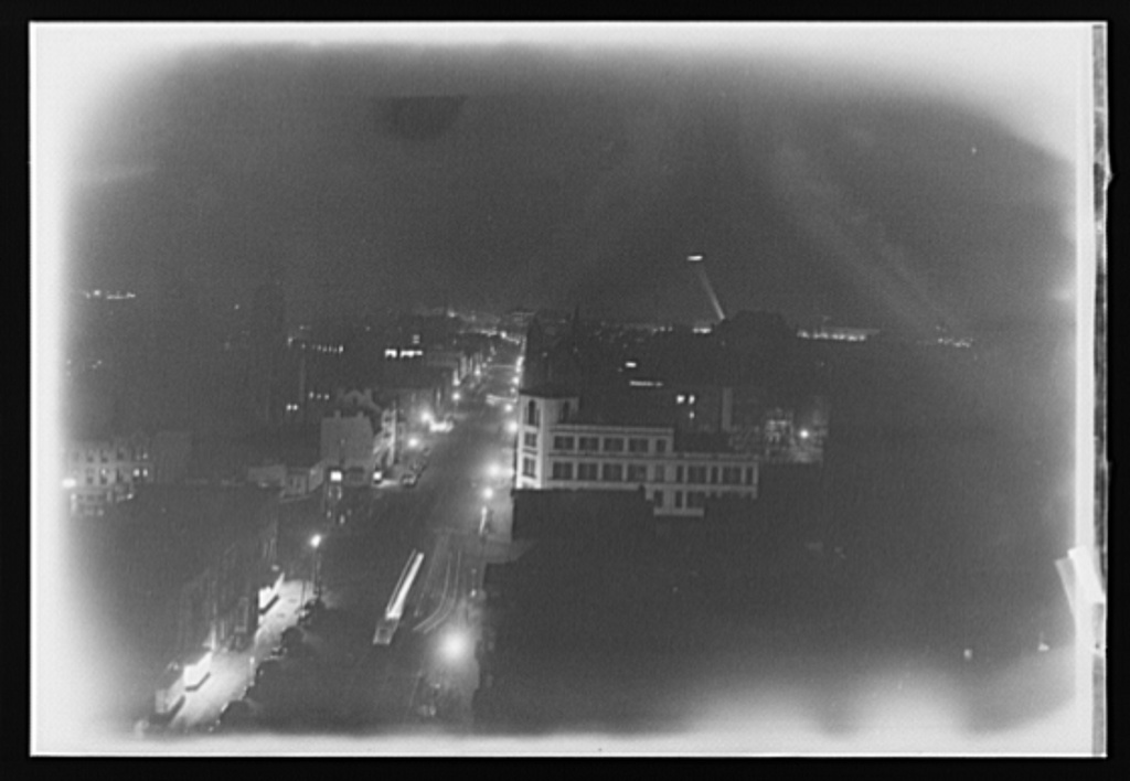 Washington, D.C. First test blackout from roof of Printcraft building