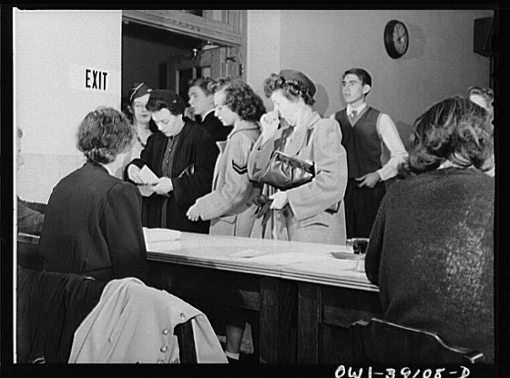 Washington, D.C. Mrs. Mary Spangler, Woodrow Wilson High School teacher, issuing ration books