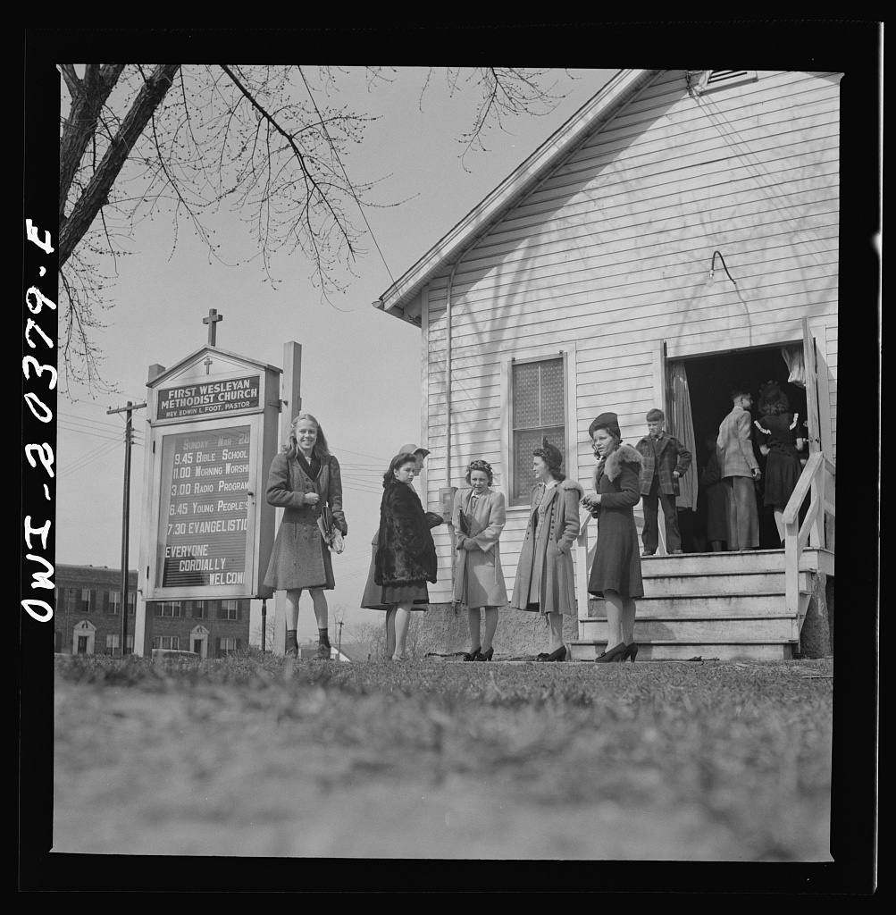 Washington, D.C. People leaving the Firt Wesleyan Methodist church after services